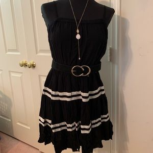 Black and white tiered dress with matching belt